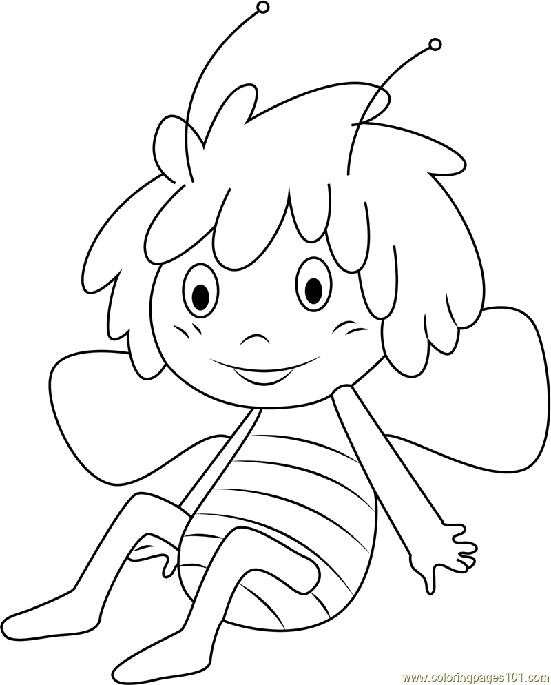 Cheerful Maya Coloring Page Free