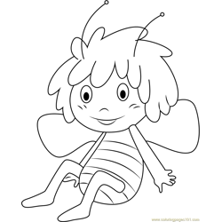 Cheerful Maya Free Coloring Page for Kids