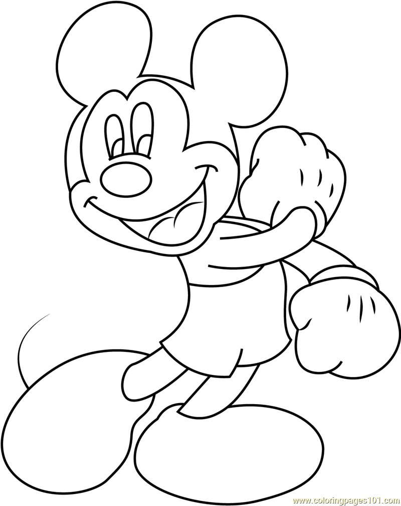 Joyful Mickey Mouse Coloring Page