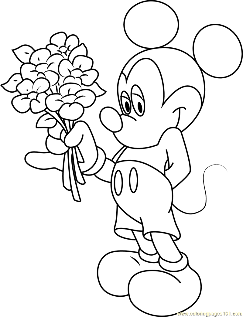 mickey mouse having flowers in hand coloring page - Hand Coloring Page
