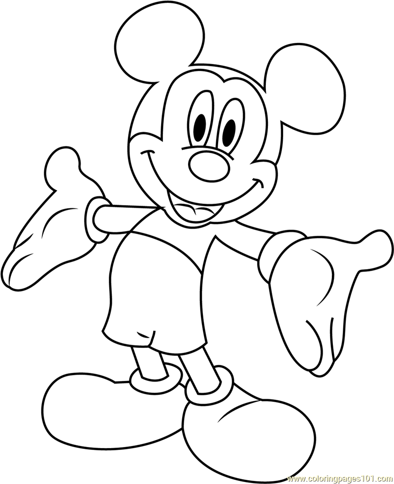 Mickey Mouse Smiling Coloring Page - Free Mickey Mouse ...