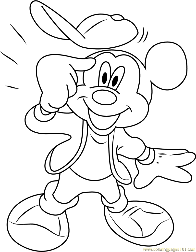 Mickey Mouse Thinking Coloring Page