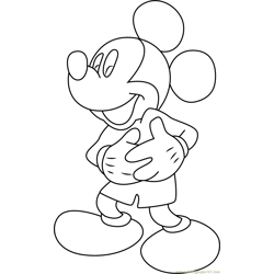 Cute Mickey Mouse Free Coloring Page for Kids