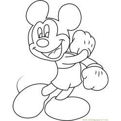Joyful Mickey Mouse Free Coloring Page for Kids