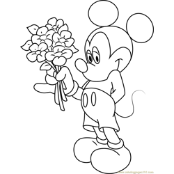 Mickey Mouse Having Flowers in Hand Free Coloring Page for Kids