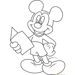 Mickey Mouse Reading a Book Free Coloring Page for Kids