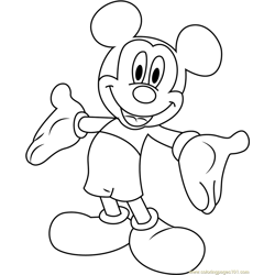 Mickey Mouse Smiling Free Coloring Page for Kids