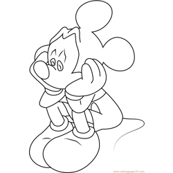 Sad Mickey Mouse Free Coloring Page for Kids