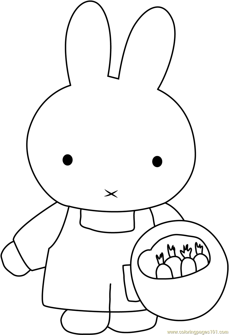 Miffy Planting Seeds Coloring Page