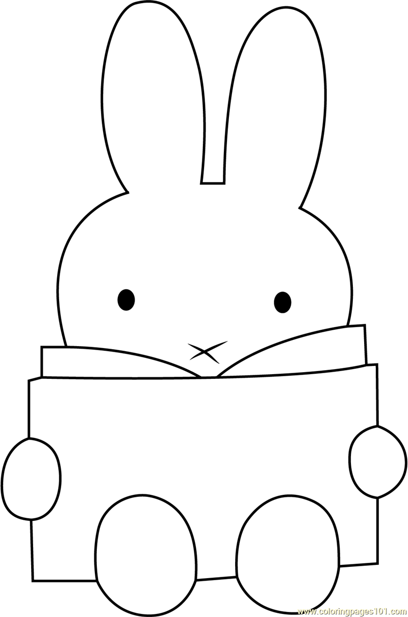 Miffy Reading a Book Coloring Page