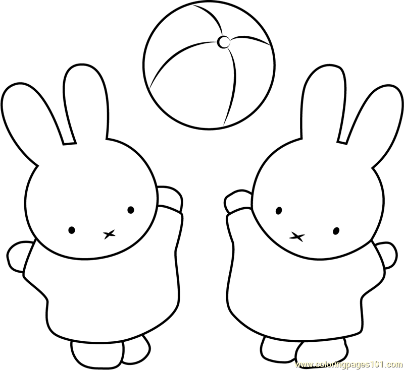 Miffy and Nina Play Ball Coloring Page - Free Miffy Coloring Pages ...