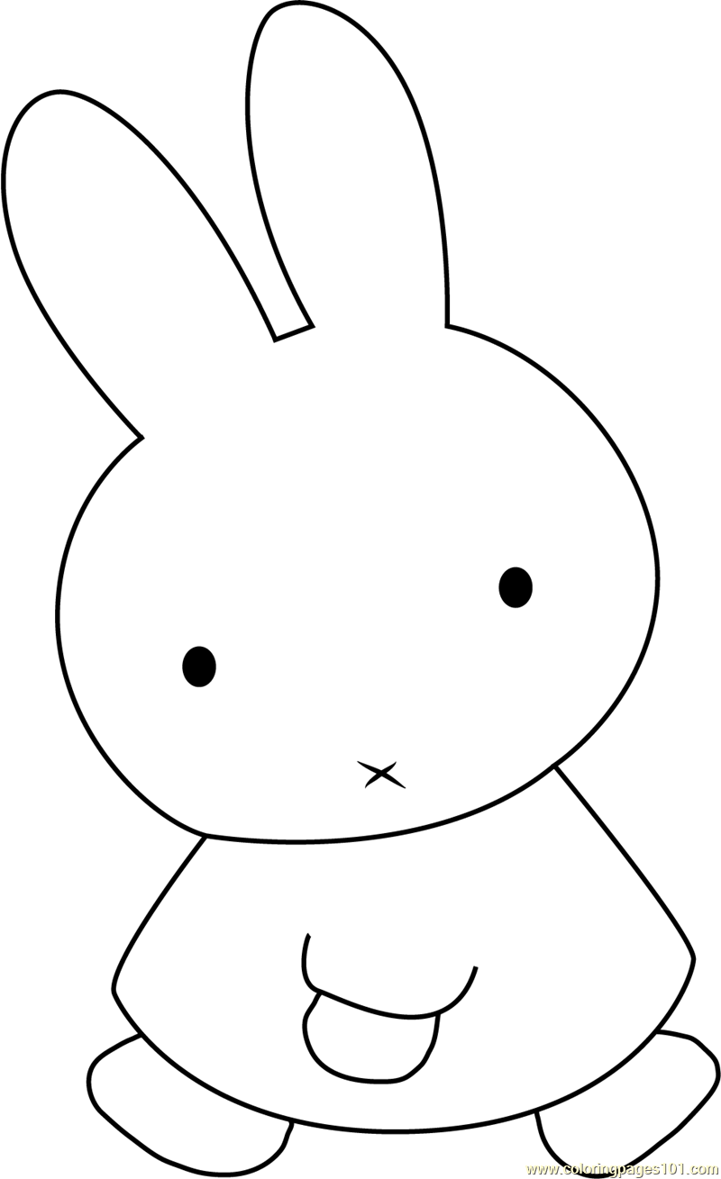 Rabbit coloring pages online - Miffy The Rabbit Coloring Page