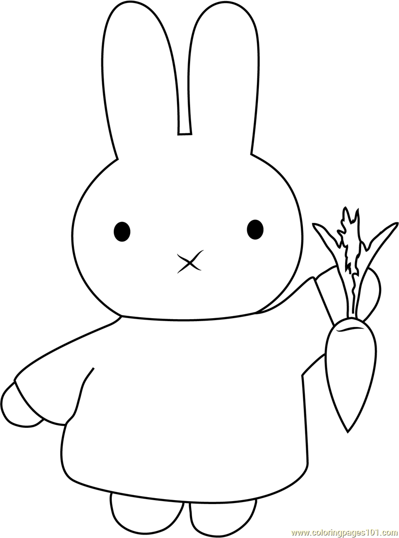 Miffy with Carrot Coloring Page