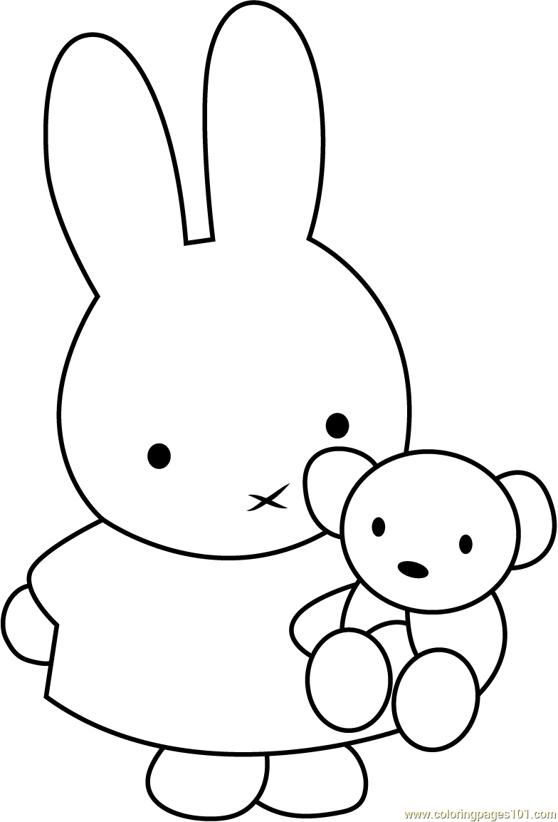 Miffy With Teddy Bear Coloring Page Free Miffy Coloring