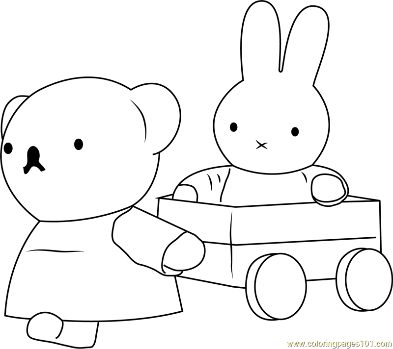 Miffy with her Friend Coloring Page - Free Miffy Coloring ...