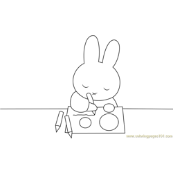 Miffy Draw a Pictures Free Coloring Page for Kids