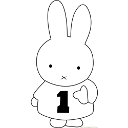 Miffy Number One Free Coloring Page for Kids