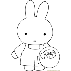 Miffy Planting Seeds Free Coloring Page for Kids