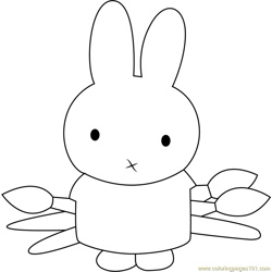 Miffy the Artist Free Coloring Page for Kids
