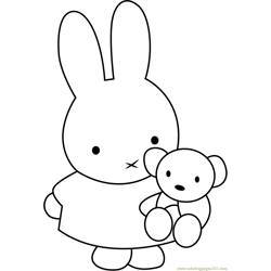 Miffy with Teddy Bear Free Coloring Page for Kids