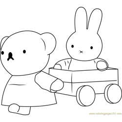 Miffy with her Friend Free Coloring Page for Kids