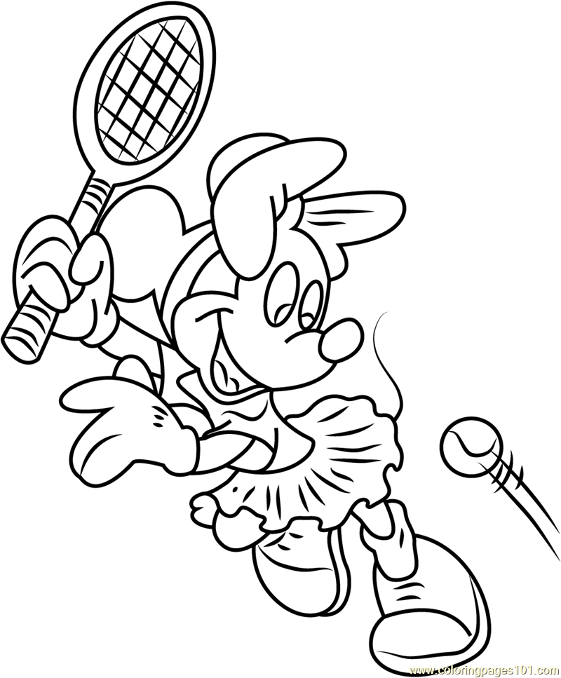 Minnie Mouse Play Badminton Coloring Page