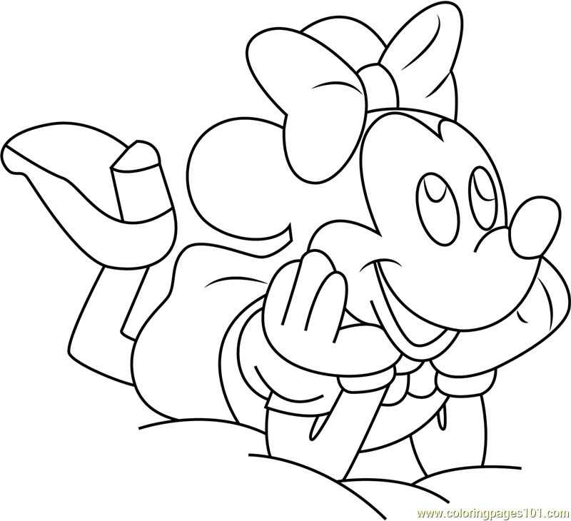 Minnie Mouse Ready to Sleep Coloring Page