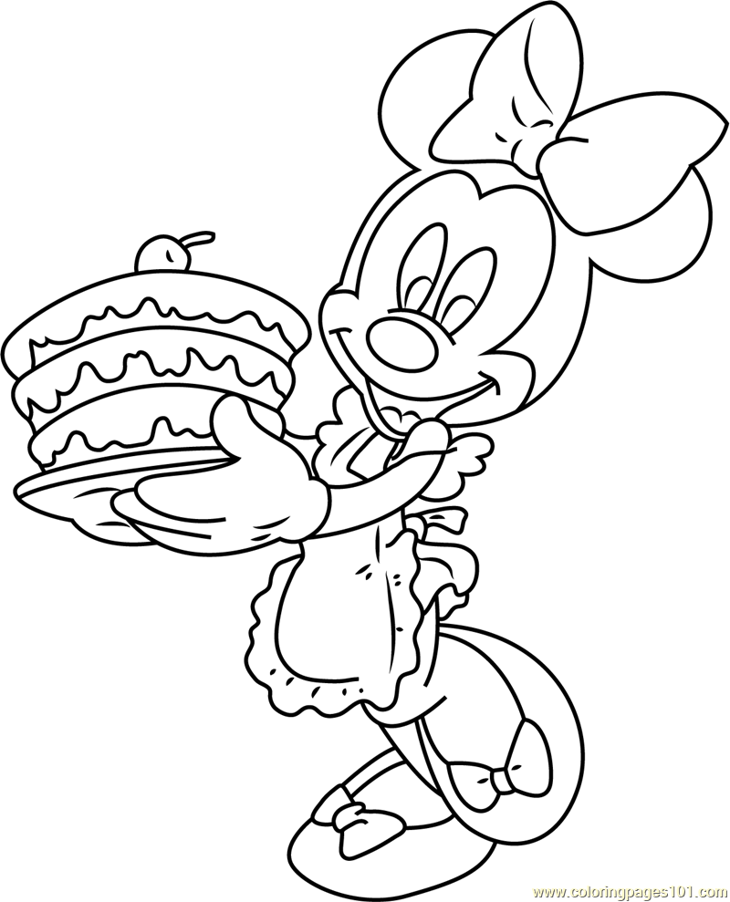 Minnie Mouse with Birthday Cake Coloring Page
