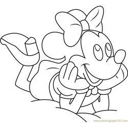 Minnie Mouse Ready to Sleep Free Coloring Page for Kids