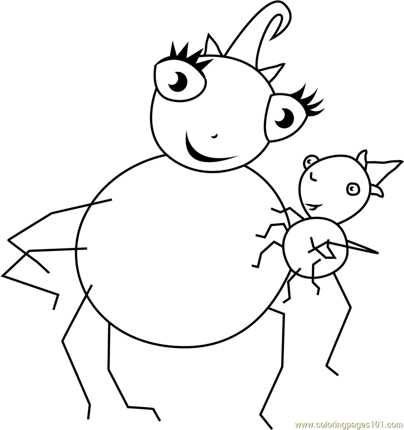 Miss spiders coloring pages ~ Miss Spider with Pansy Coloring Page - Free Miss Spider ...