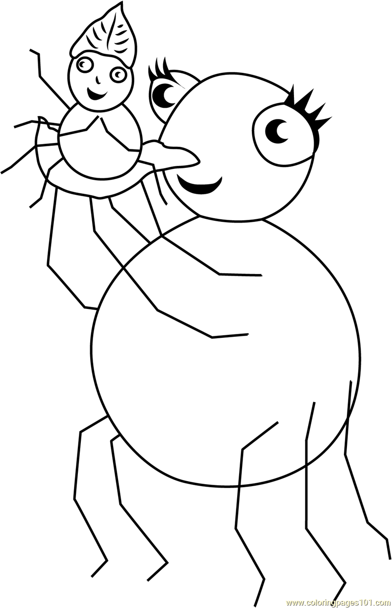 so happy miss spider with pansy coloring page