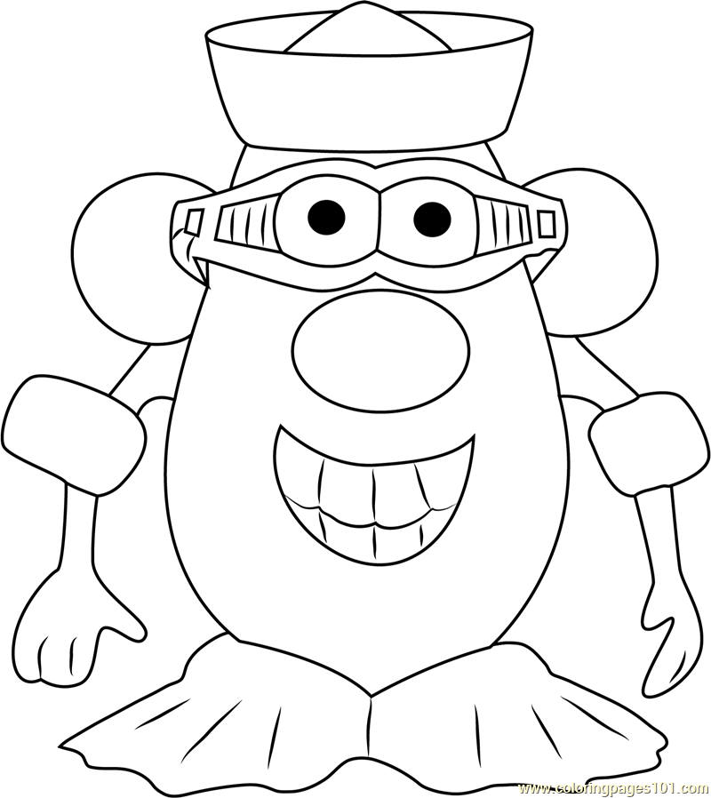 Mister Potato Smiling Coloring Page