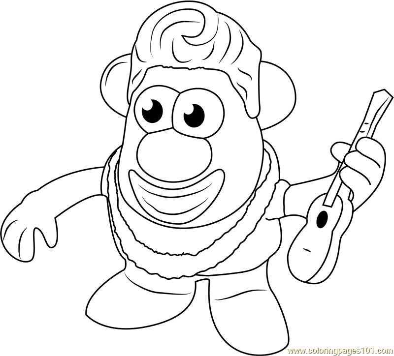 Mister Potato having Guitar Coloring Page