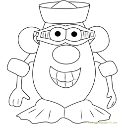Mister Potato Smiling Free Coloring Page for Kids