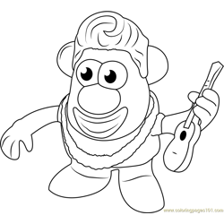 Mister Potato having Guitar Free Coloring Page for Kids