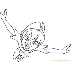 Happy Peter Pan Free Coloring Page for Kids