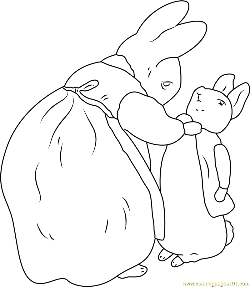 Beatrix Potter and Peter Rabbit Coloring Page Free Peter Rabbit