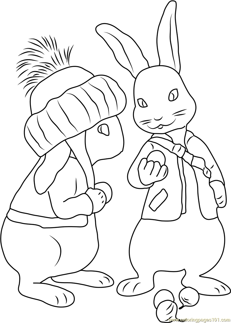 Rabbit coloring pages online - Benjamin Bunny Coloring Page