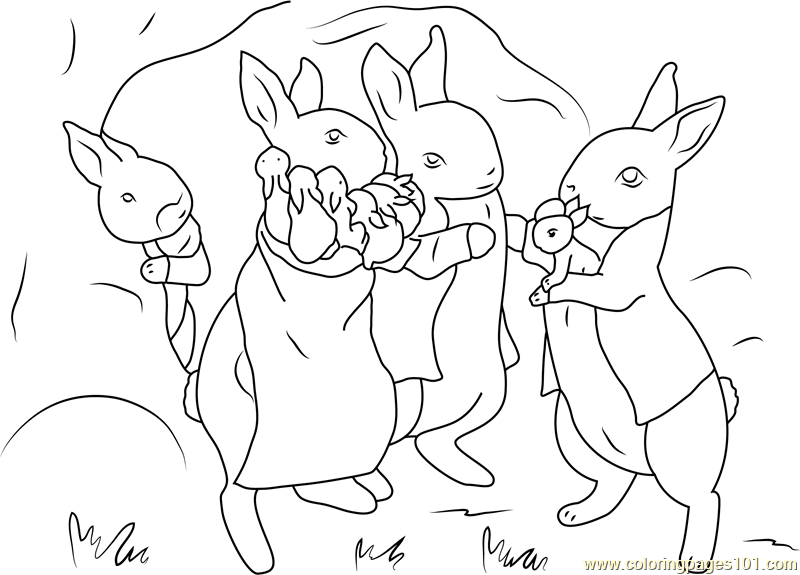 Peter Rabbit With Family Coloring Page