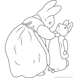 Beatrix Potter and Peter Rabbit Free Coloring Page for Kids