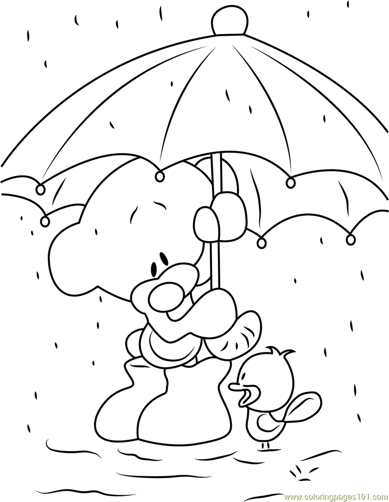 Coloring pages rain - Pimboli Bear Stand In Rain Coloring Page