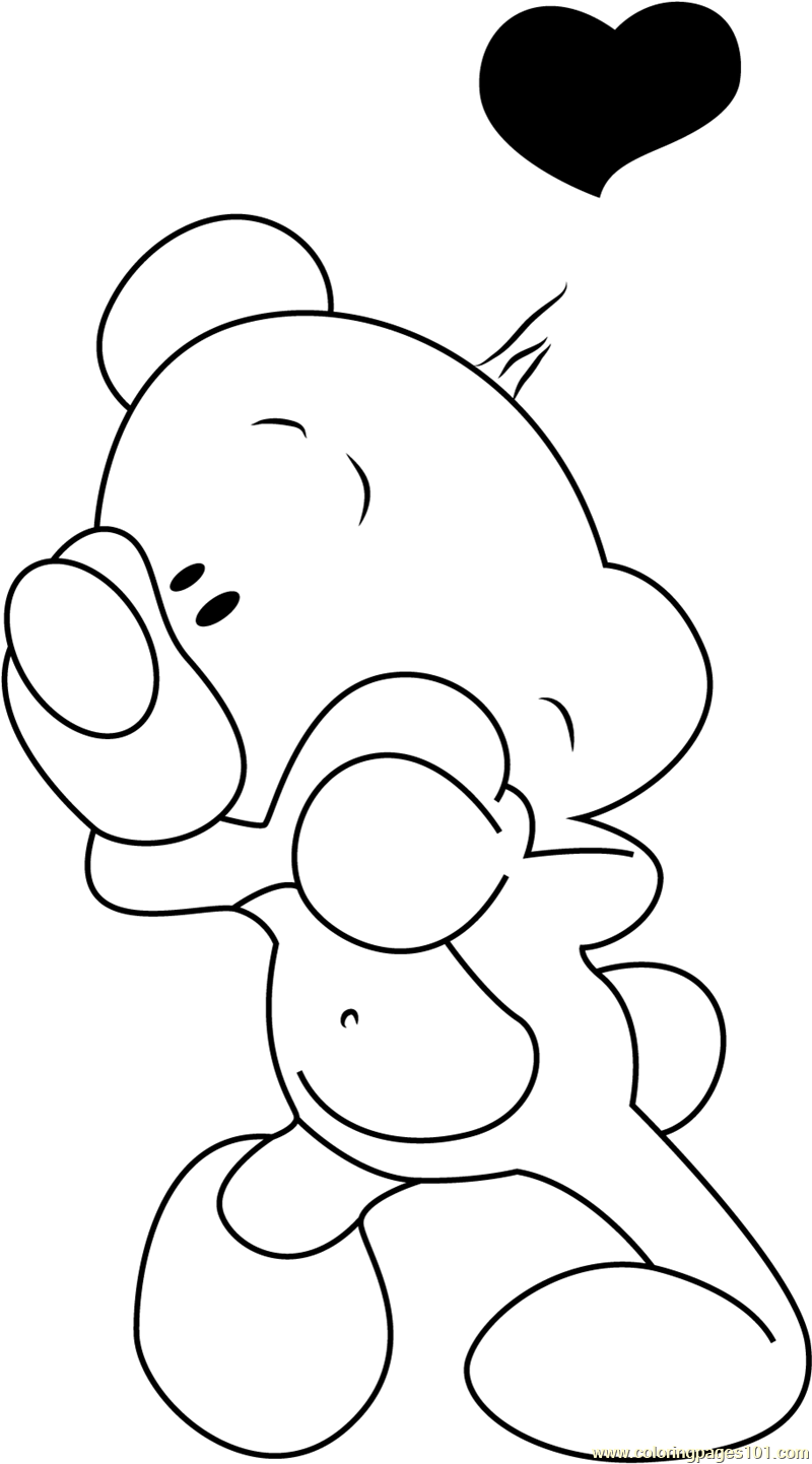 Pimboli Bear in Love Coloring Page