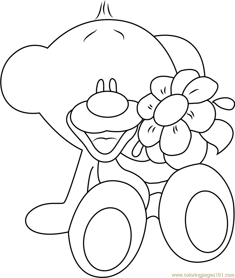 Pimboli Bear with Flowers Coloring Page