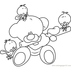 Pimboli Bear Playing Flute coloring page