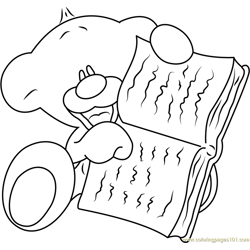 Pimboli Bear Reading a Book Free Coloring Page for Kids