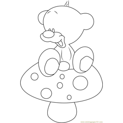Pimboli Bear Sit on Mushroom Free Coloring Page for Kids