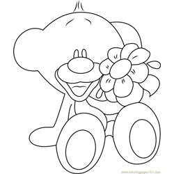 Pimboli Bear with Flowers Free Coloring Page for Kids