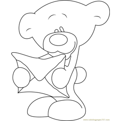 Pimboli Bear with Letter Free Coloring Page for Kids