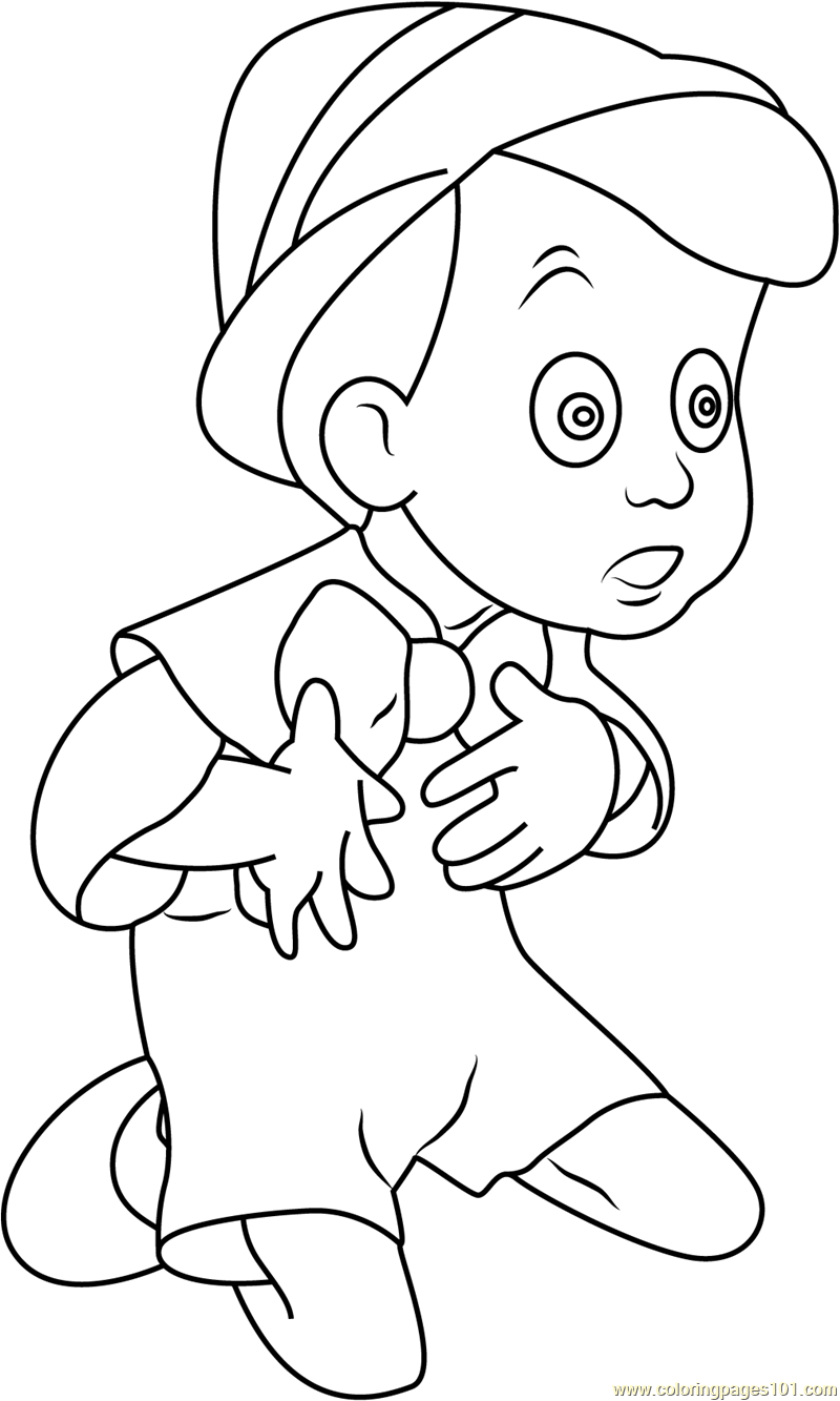 pinocchio sitting and looking coloring page
