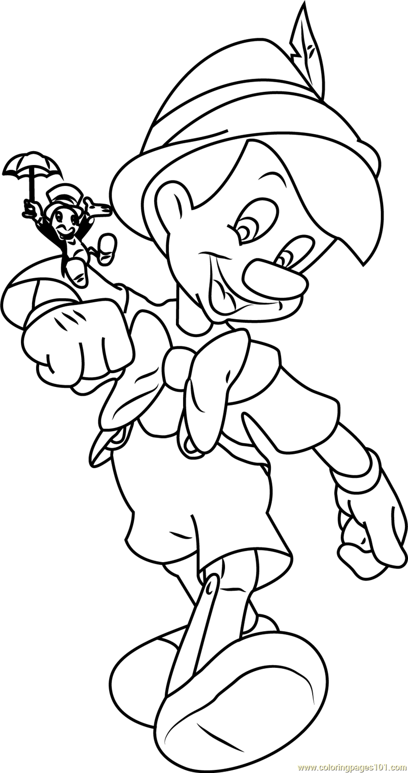 pinocchio with jiminy cricket coloring page free pinocchio